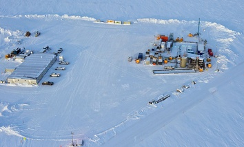 A drill rig at Prudhoe Bay on Alaska's North Slope is seen testing a method for extracting methane from methane hydrate.
