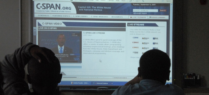 Children in New Jersey watch via a web browser as President Barack Obama delivers a back-to-school address to students nationwide on Tuesday, Sept. 8, 2009.