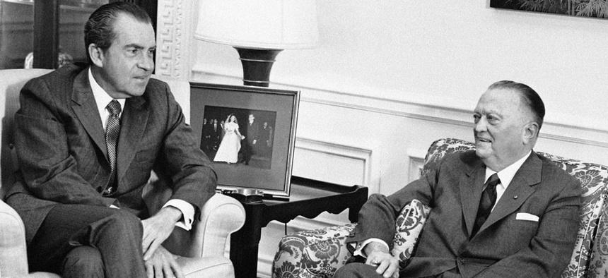 FBI Director J. Edgar Hoover, 77 years old with President Richard Nixon in 1971.