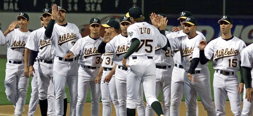 The 2002 Oakland Athletics were the subject of the Michael Lewis book Moneyball.