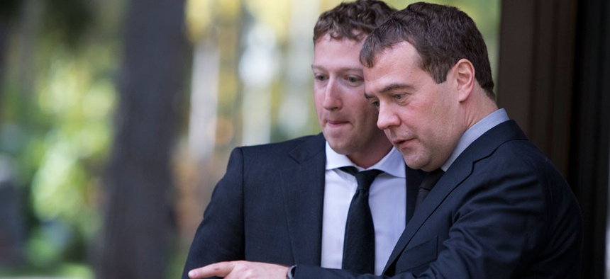 Russian Prime Minister Dmitry Medvedev met with Facebook CEO Mark Zuckerberg in 2012 in Moscow.
