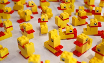 Ducks created with LEGO bricks