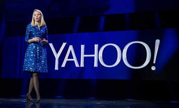 Yahoo president and CEO Marissa Mayer speaks during a keynote address at the International Consumer Electronics Show.
