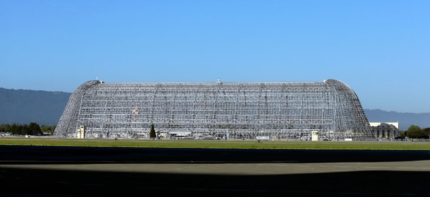 Hangar One is seen at Moffett Field