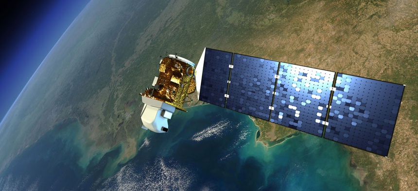 An artist's rendering of a Landsat satellite in orbit around Earth