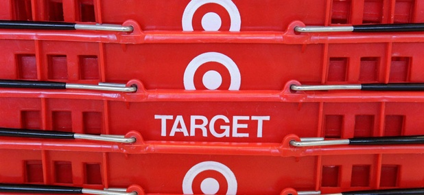 Shopping baskets are stacked at a Chicago area Target store.