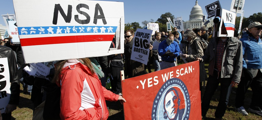 Protestors demonstrated against the NSA programs in October in Washington.