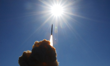 A ground-based interceptor lifts off from Vandenberg Air Force Base in 2008.