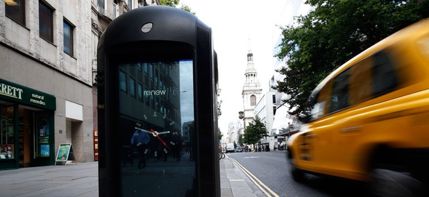 High-tech, Wi-Fi-connected trash cans are placed around London to monitor commuters.