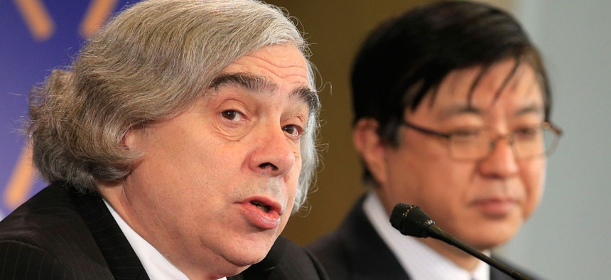 Energy Secretary Ernest Moniz and Japan's Special Advisor to the Prime Minister Yosuke Isozaki address the media at the first day of a two-day summit Monday in the Netherlands.