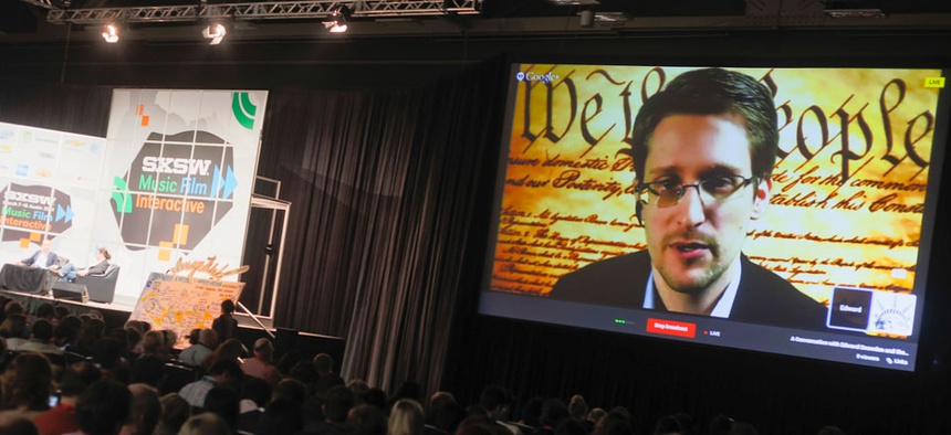 Edward Snowden spoke during a simulcast conversation during the South by Southwest in early March.