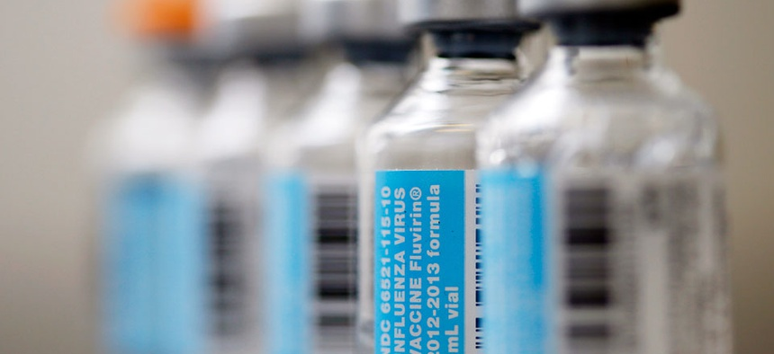 Vials of flu vaccine in Philadelphia.