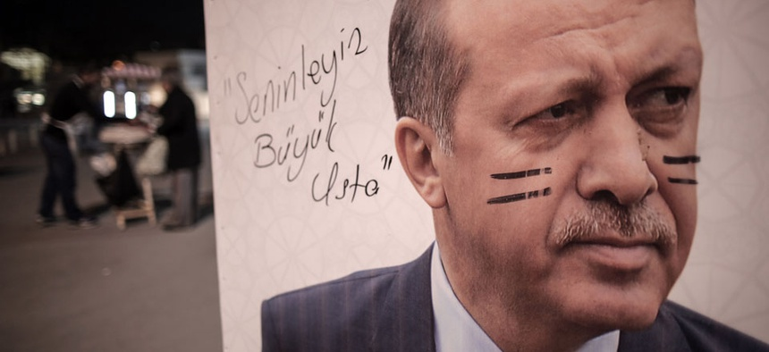 A poster of Turkish Prime Minister Recep Tayyip Erdogan is seen on an election billboard in Istanbul, Turkey.