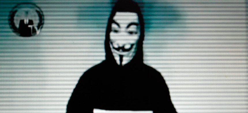 This image taken from a video posted by Internet hackers, Anonymous on the Greek Justice Ministry web site.