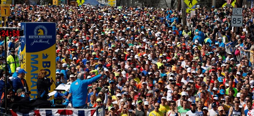 Runners wait to start the 118th Boston Marathon Monday, April 21, 2014 in Hopkinton, Mass.
