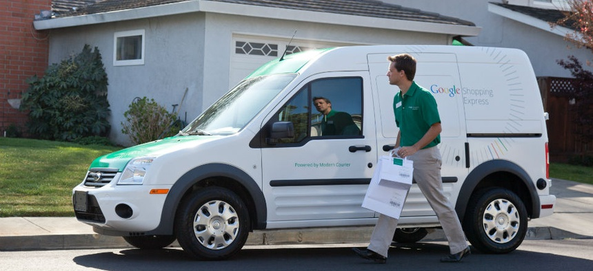 A Google Shopping express van.