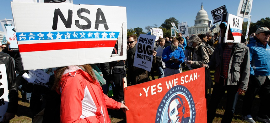 Demonstrators protest against NSA surveillance in October.