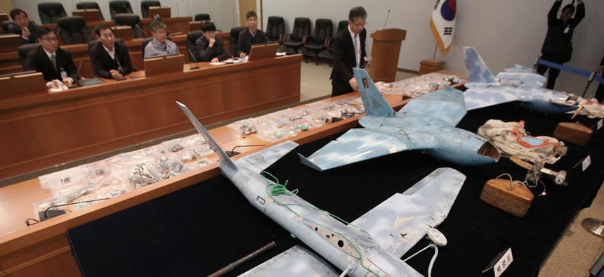 Suspected North Korean drones that were recently found crashed near the border with the North are unveiled by the state-run Agency for Defense Development during a press conference in Daejeon, South Korea.