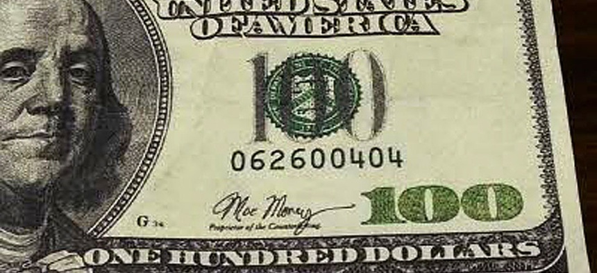 A counterfeit $100.00 bill