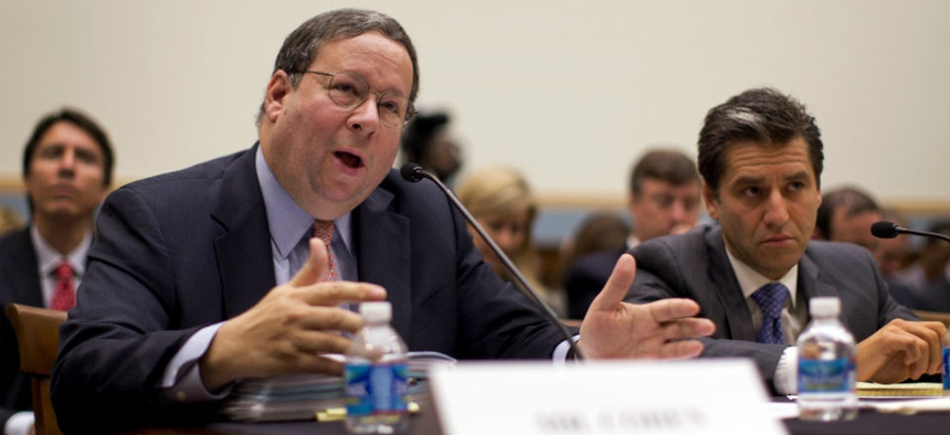 David Cohen, Executive Vice President, Comcast Corporation, left, testifies with Robert Marcus, Chairman and CEO, Time Warner Cable at a hearing on the proposed merger of the two companies.