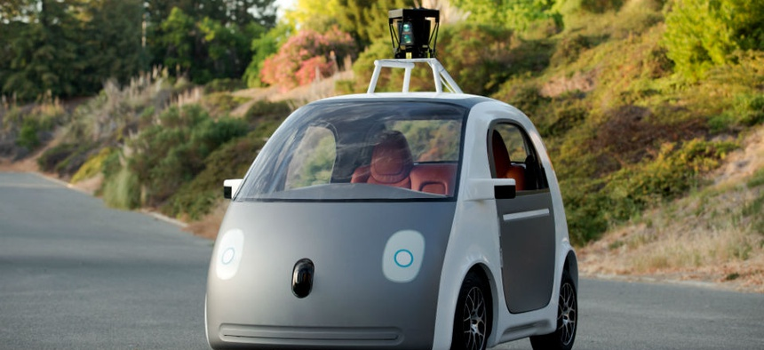 A very early version of Google's prototype self-driving car.