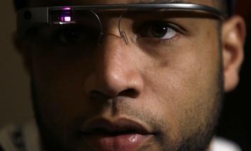 Seattle Seahawks wide receiver Golden Tate wears Google glasses.
