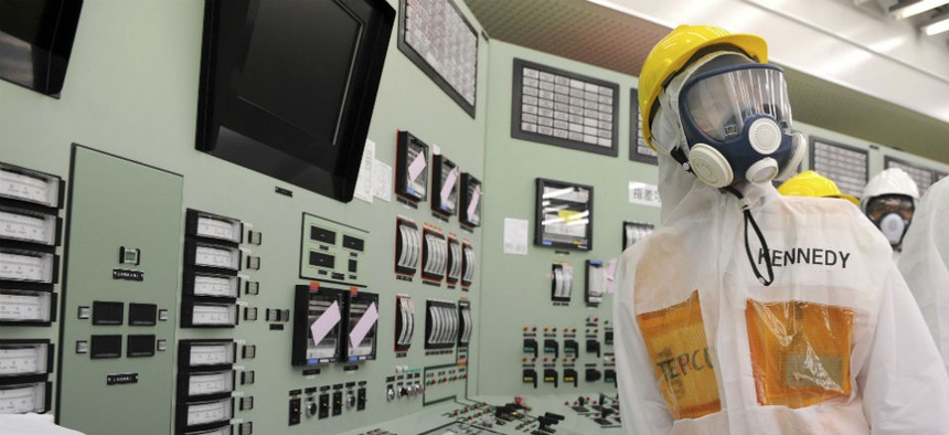 The central control room for the Unit One and Unit Two reactors of the Fukushima Dai-ichi nuclear power plant.