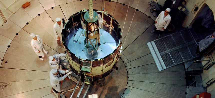 The ISEE-3, undergoing testing and evaluation.