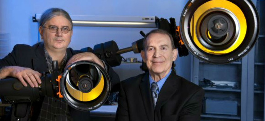 Army Research Laboratory quantum researchers Ronald Meyers (right) and Keith Deacon (left) demonstrated teleportation using entangled photons.