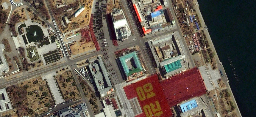 A satellite image provided by DigitalGlobe shows a parade held to mark the 100th anniversary of Kim Il Sung's birthday Pyongyang, North Korea.