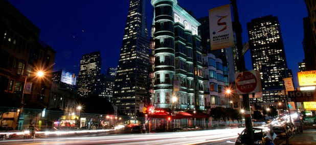 A San Francisco cityscape.