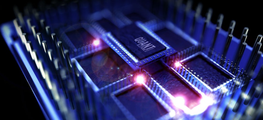 A 3D rendered simulation of a quantum processor computer.