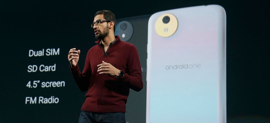 Sundar Pichai, senior vice president of Android, Chrome and Apps, speaks about the Android One phone during the Google I/O 2014 keynote presentation in San Francisco.