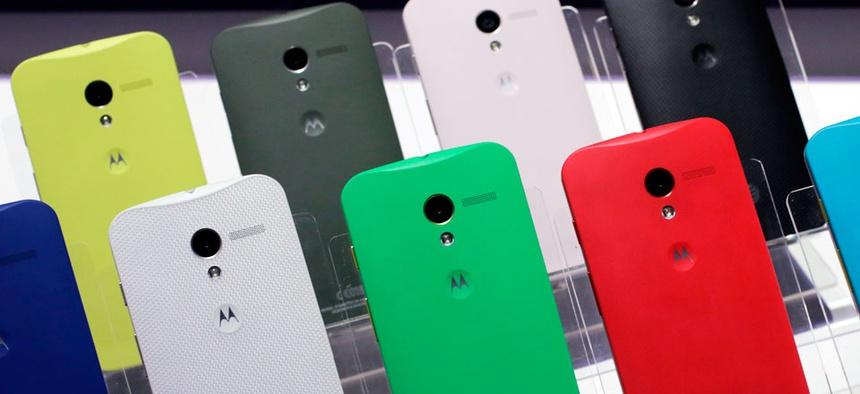 Motorola Moto X smartphones, using Google's Android software, are shown.