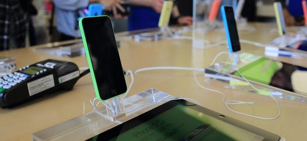 An Apple store in Hong Kong displays iPhones and iPads for purchase in October.