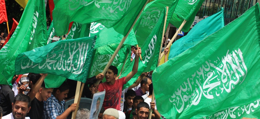 Supporters of Hamas rally in the West Bank city of Nablus in May.