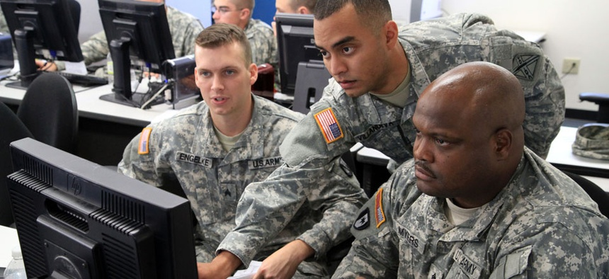 National Guard soldiers conduct a computer network defense exercise in 2012.