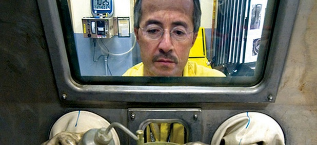 Plutonium pits for the U.S. nuclear arsenal are cast at Los Alamos National Laboratory in 2005.