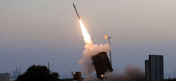 An Iron Dome air defense system fires to intercept a rocket from Gaza Strip in the costal city of Ashkelon, Israel.