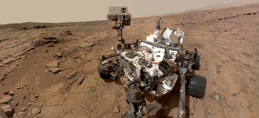 A self-portrait taken by the NASA rover Curiosity in Gale Crater on Mars.