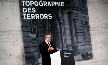 Poland President Bronislaw Komorowski delivers his speech during the opening of an exhibition of the Warsaw Uprising in 1944.