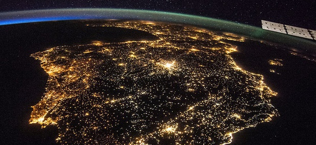 The Iberian Peninsula at night, showing Spain and Portugal. Madrid is the bright spot just above the center.