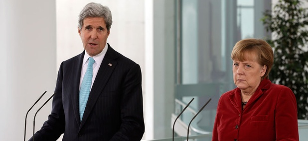 Secretary of State John Kerry, left, and German Chancellor Angela Merkel