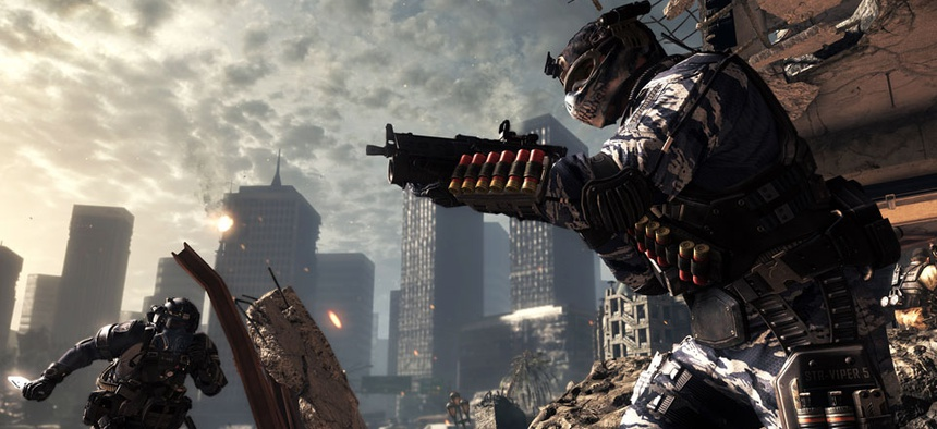 """A scene from the video game, """"Call of Duty: Ghosts."""" The game is a first-person shooter and features interactive maps."""