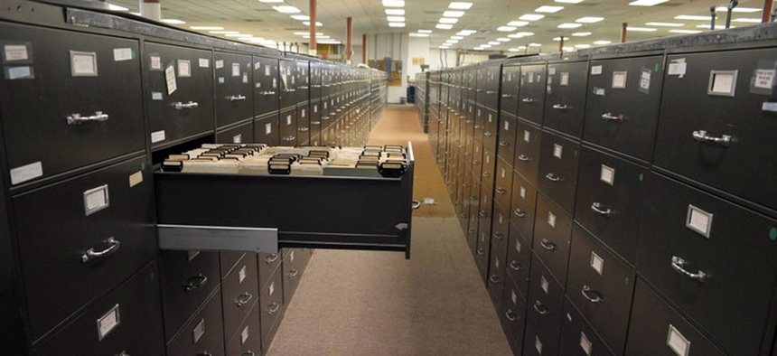 The paper filing system files at the FBI Headquarters in Washington, D.C.