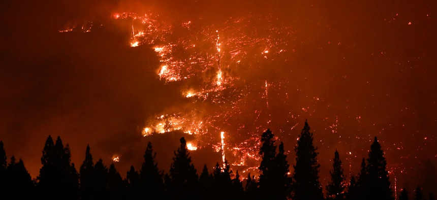 A forest smolders as the Rim Fire continues to burn near Yosemite National Park, Calif.
