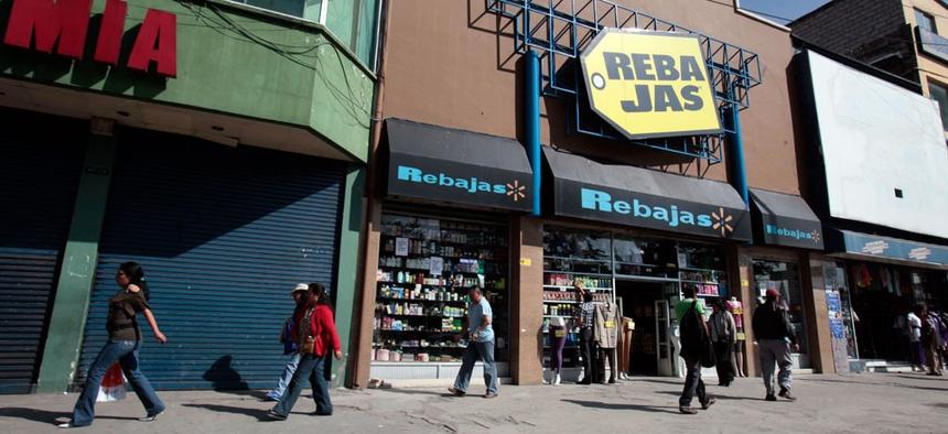 Shops along the street in north Quito, Ecuador.