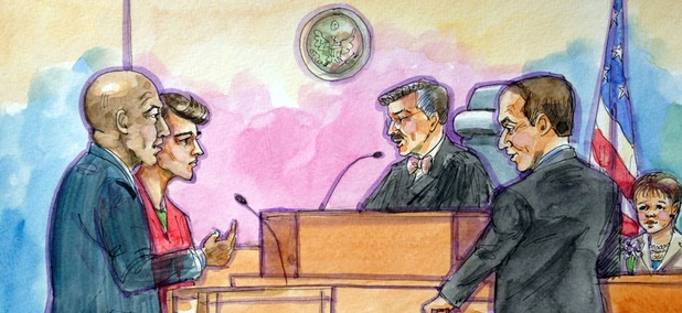 This artist rendering shows Ross William Ulbricht, second from left, appearing in Federal Court.