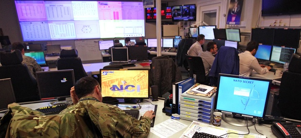 Staff operate at the NATO Computer Incident Response Capability (NCIRC) technical center, at NATO's military headquarters in Belgium.