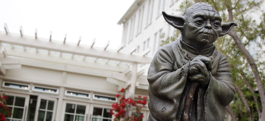 A life-sized replica of Yoda, George Lucas' master of the Force, is shown at Lucasfilm Ltd. production studios in San Francisco.